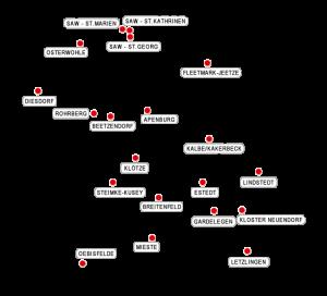Karte der Pfarrbereiche